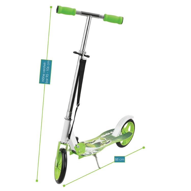 Abmessungen 3-fach höhenverstellbarer Cityroller (grün) zum Zusammenklappen – Gesamtabmessungen: 88 x 38 x 95-106 cm, Maße der Trittfläche: 52 x  16 cm, Durchmesser XXL-Rollen: 20,5 cm, max. Belastbarkeit: 100 Kilogramm, Gewicht: 3,8 Kilogramm