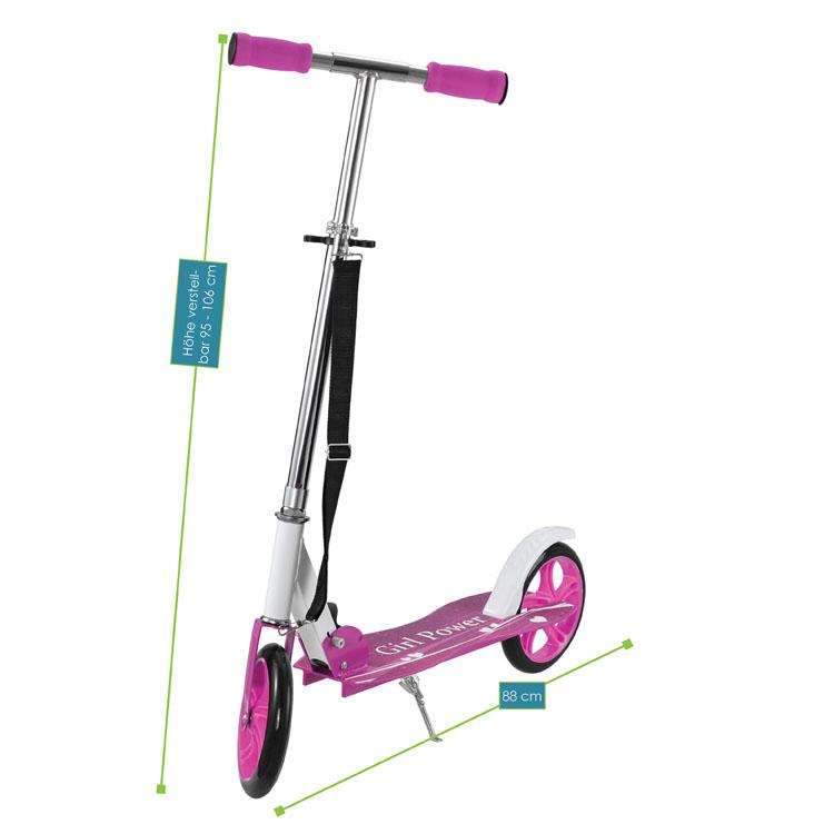 Abmessungen 3-fach höhenverstellbarer Cityroller (pink) zum Zusammenklappen – Gesamtabmessungen: 88 x 38 x 95-106 cm, Maße der Trittfläche: 52 x  16 cm, Durchmesser XXL-Rollen: 20,5 cm, max. Belastbarkeit: 100 Kilogramm, Gewicht: 3,8 Kilogramm