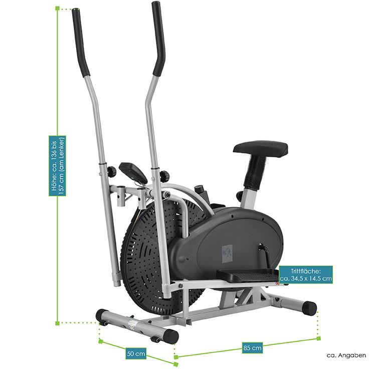 Abmessungen vom 2in1 Crosstrainer und Heimtrainer mit Sattel, Computer und LCD Display