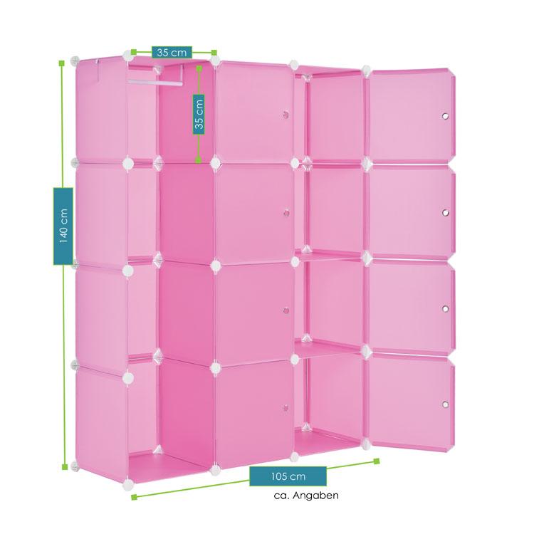Abmessungen vom DIY-Garderobenschrank aus 12 Kunststoff-Boxen – pink