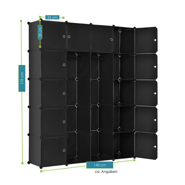 garderobenschrank kleiderschrank aus 20 variablen boxen in schwarz juskys. Black Bedroom Furniture Sets. Home Design Ideas