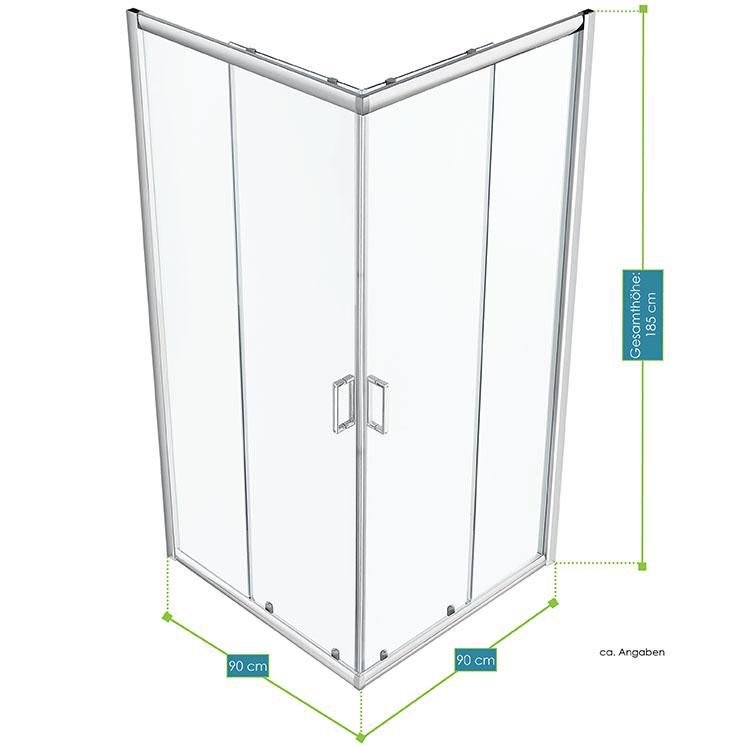 Abmessungen der Duschkabine Braga  90 × 90 cm mit Eckeinstieg und Schiebetüren