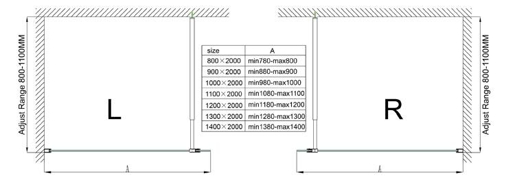 Abmessungen der Duschabtrennung Lissabon 10 mm Glas – 110 x 200 cm