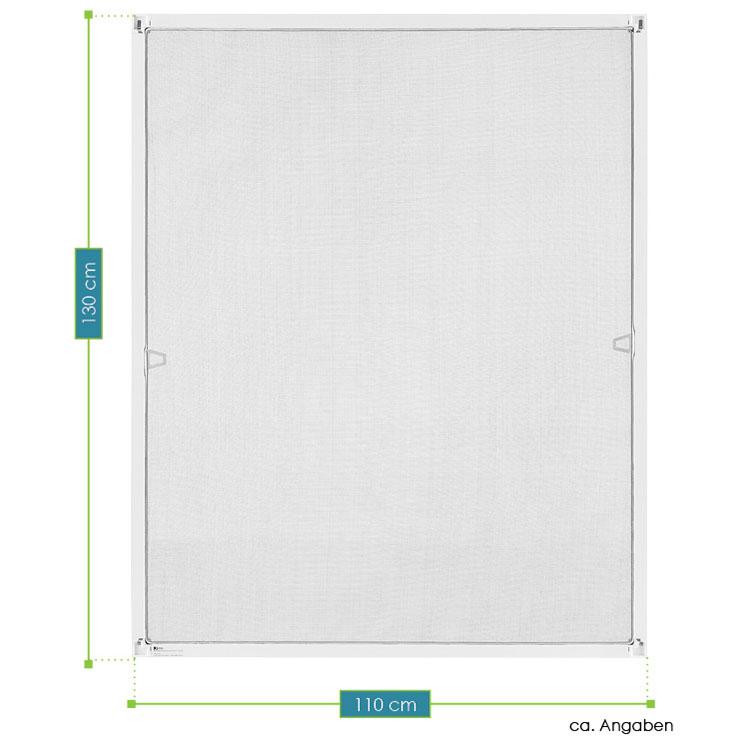 Abmessungsbild Fliegenschutzgitter mit Aluminiumrahmen 110x130 cm in weiß