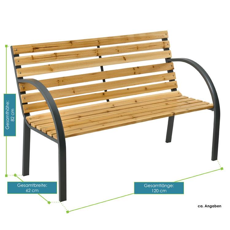 Abmessungen von der 2-Sitzer Gartenbank Modena aus lackiertem Espenholz und pulverbeschichtetem Stahl von ArtLife -  schlichtete, naturbelassene Optik - ideal für 2 Personen