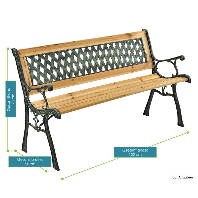Abmessungen von der 2-Sitzer Gartenbank Pisa aus lackiertem Espenholz und Gusseisen von ArtLife - geschmackvolle Rückenlehne mit ansprechendem Kunststoffelement - ideal für Balkon, Terrasse, am Teich oder vor dem Haus