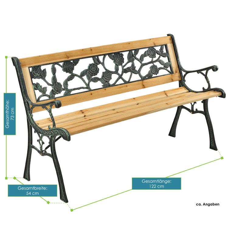 Abmessungen von der 2-Sitzer Gartenbank Venezia aus lackiertem Espenholz und Gusseisen von ArtLife - ideal für Balkon, Terrasse, am Teich oder vor dem Haus