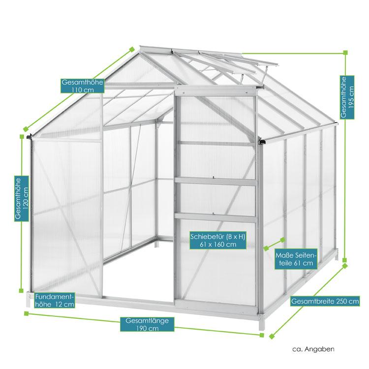 Aluminium Gewachshaus 7 6m Mit 2 Dachfenstern Inklusive Fundament