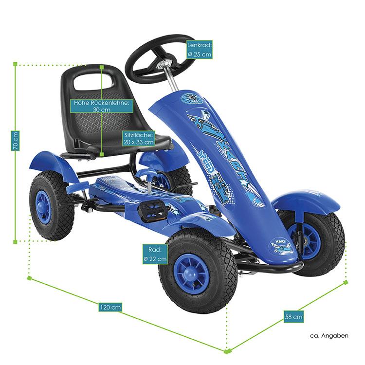 Abmessungsbild vom 1-Sitzer-Gokart Racer blau