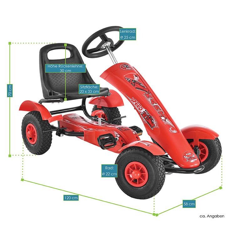 Abmessungsbild vom 1-Sitzer-Gokart Racer rot