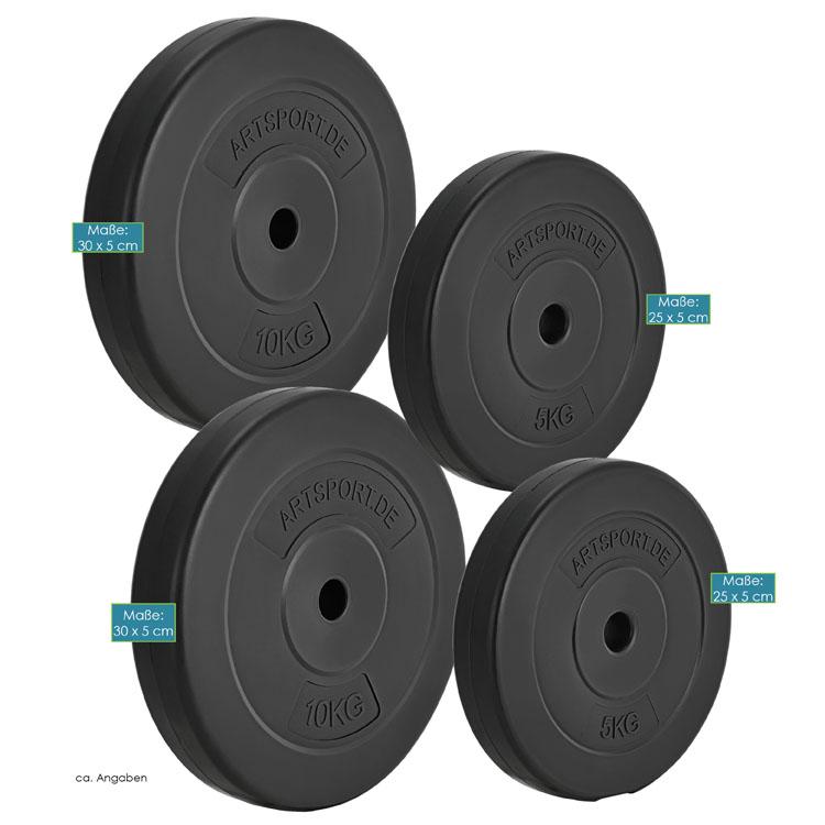 Abmessungen  vom 4-teiligen Hantelscheiben-Set 30 kg von ArtSport - 2 Gewichte á 5 kg & 2 Gewichte á 10 kg
