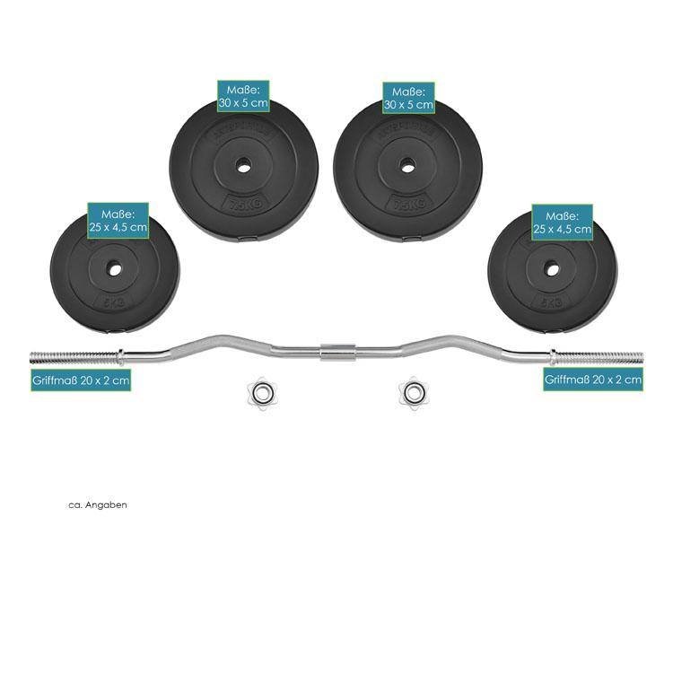 Abmessungen vom Curlhantel-Set 30 kg mit 2-teiliger Langhantelstange und Hantelscheiben
