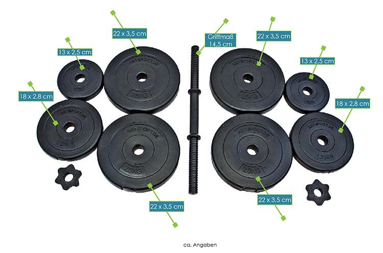 Abmessungen Hantelset mit Kurzhanteln von ArtSport – Kurzhantelstangen: 45 × 2,5 cm, Griffmaß Kurzhantelstangen: 14,5 cm, Gewichtsschreiben á 0,75 kg: 13 × 2,5 cm, Gewichtsscheiben á 1,25 kg: 18 × 2,8 cm; Gewichtsscheiben á 2,5 kg: 22 × 3,5 cm
