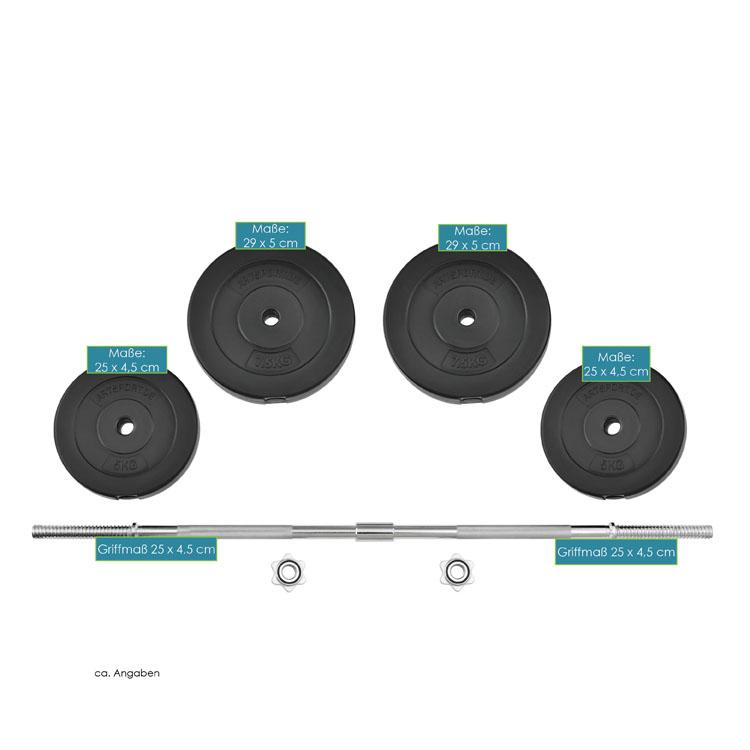 Abmessungen vom Langhantel-Set 30 kg mit 2-teiliger Langhantelstange und Hantelscheiben
