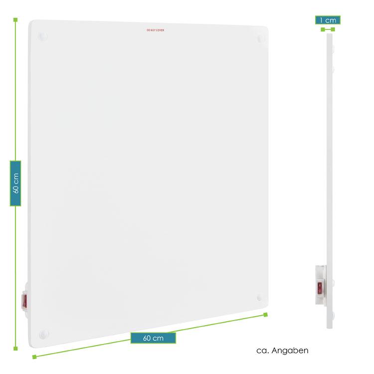 Abmessungsbild von 60 x 60 cm großen Infrarot-Heizung mit einer Leistung von 425 Watt