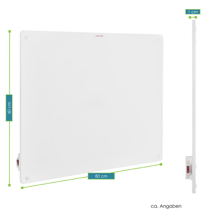 Abmessungsbild von 80 x 60 cm großen Infrarot-Heizung mit einer Leistung von 550 Watt