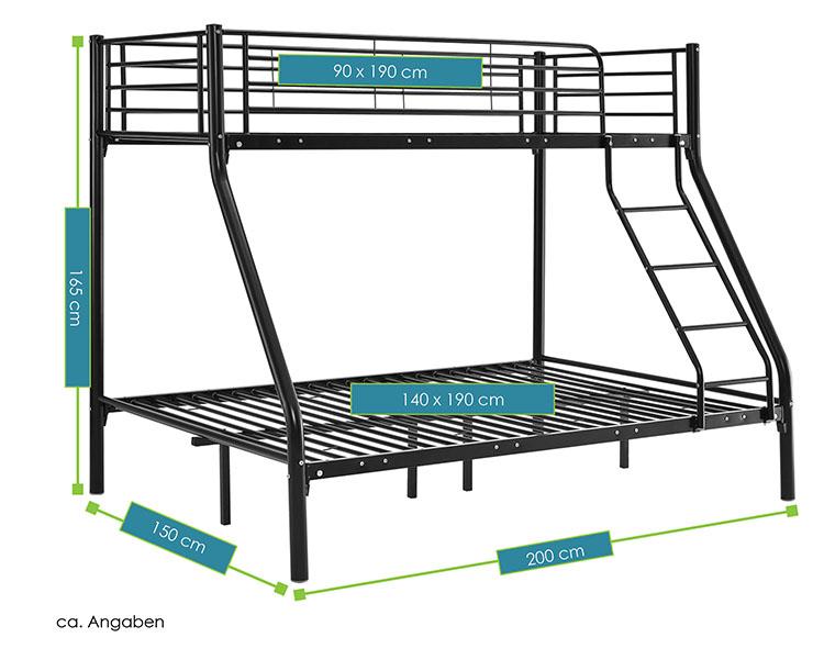 hochbett jonas schwarz juskys. Black Bedroom Furniture Sets. Home Design Ideas