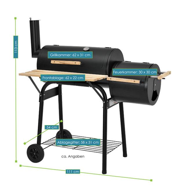 smoker utah bbq holzkohlegrill juskys. Black Bedroom Furniture Sets. Home Design Ideas