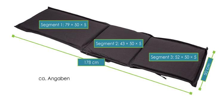 Abmessungsbild von Auflage Liegestuhl Sila – Gartenliege aus Akazienholz von ArtLife – ideal für Balkon, Terrasse oder Poolbereich