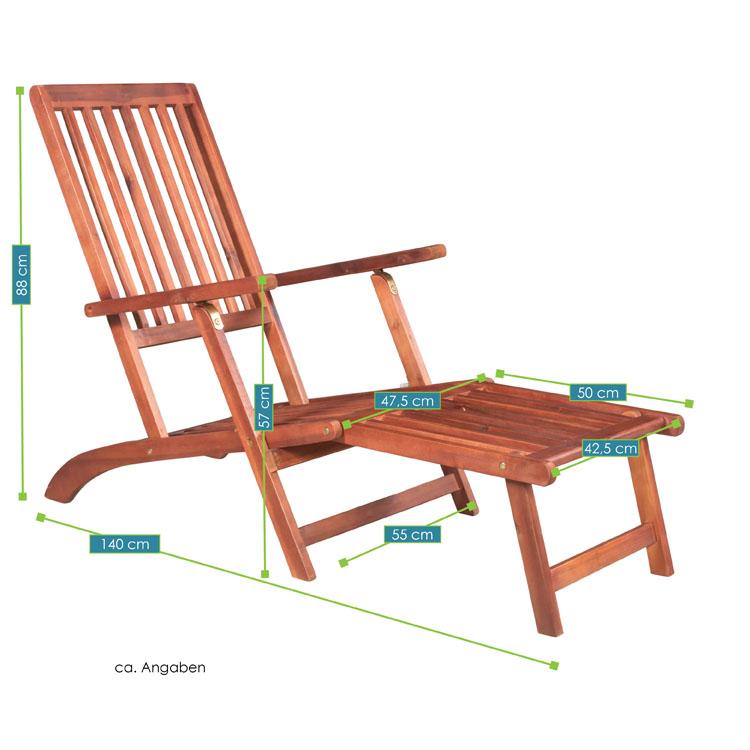 Abmessungsbild vom Liegestuhl Sila – Gartenliege aus Akazienholz von ArtLife – ideal für Balkon, Terrasse oder Poolbereich