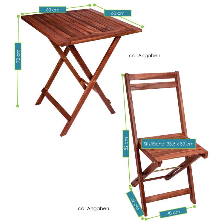 Abmessungen der 3-teiligen Sitzgruppe Pattaya mit Auflagen aus Akazienholz mit Tisch und 2 Stühlen