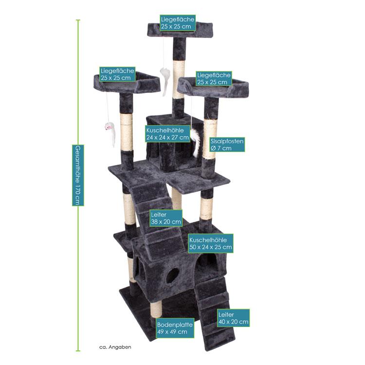 Kratzbaum Amy grau – Abmessungen vom Katzenkratzbaum