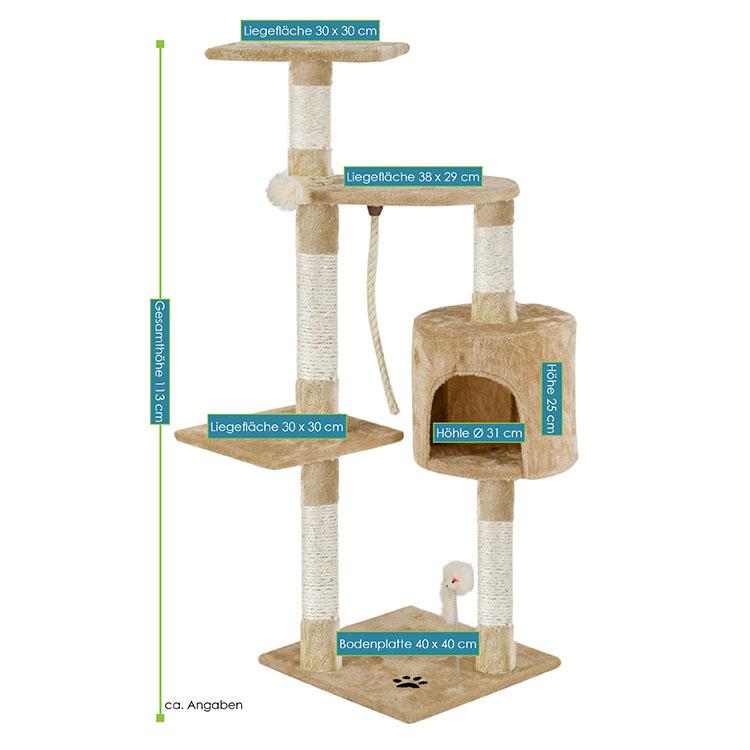 Kratzbaum Polly beige – Abmessungen vom Katzenkratzbaum