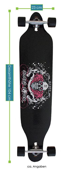Abmessungen Drop Throgh Longboard – Gesamtmaße: 104 × 23 × 9,5 cm