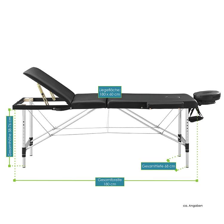 Abmessungsbild von der schwarzen Massageliege mit Aluminiumgestell – 180 x 60 – von Juskys