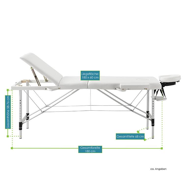 Abmessungsbild von der weißen Massageliege mit Aluminiumgestell – 180 x 60 – von Juskys