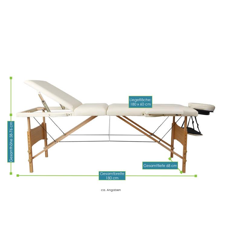 Abmessungsbild von der weißen Massageliege mit Holzgestell – 180 x 60 – von ArtSport