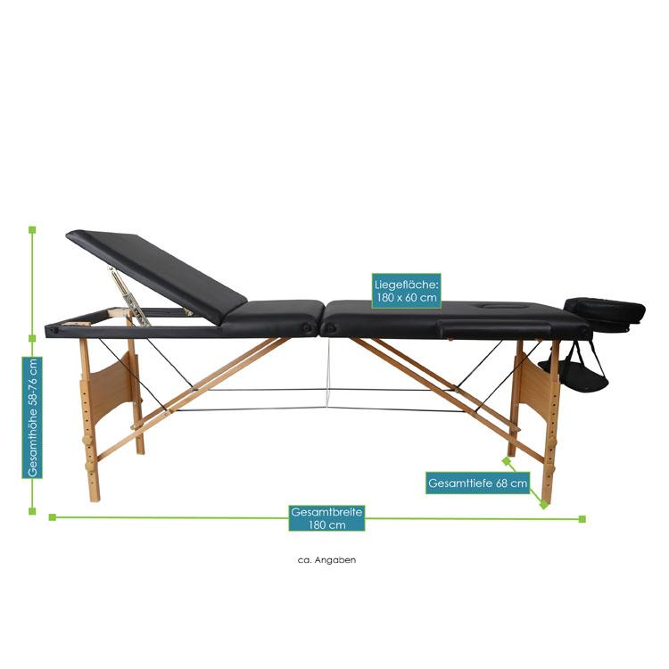 Abmessungsbild von der schwarzen Massageliege mit Holzgestell – 180 x 60 – von ArtSport