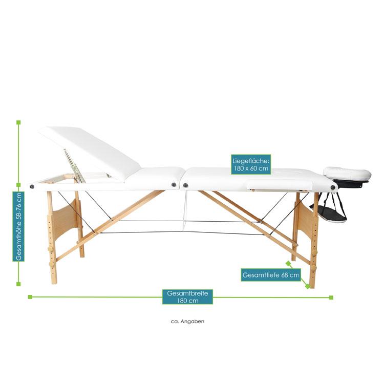 bmessungsbild von der weißen Massageliege mit Holzgestell – 180 x 60 – von ArtSport
