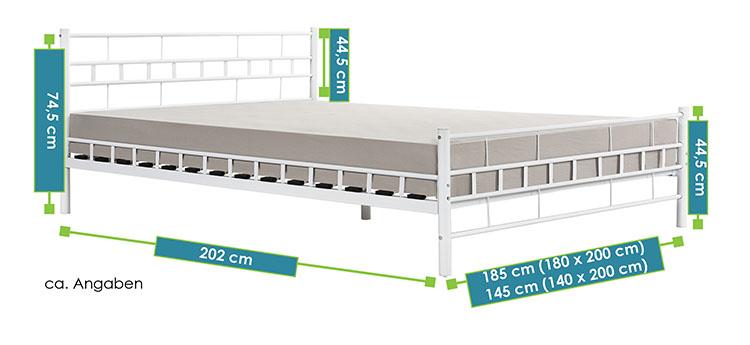 metallbett malta 140 x 200 cm wei juskys. Black Bedroom Furniture Sets. Home Design Ideas