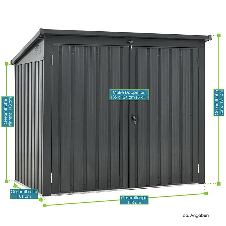 Abmessungsbild der Mülltonnenbox Genk mit Gesamthöhe von 158cm und Gesamtbreite von 101cm. Die Höhe ist vorne 134cm und hinten 113cm.