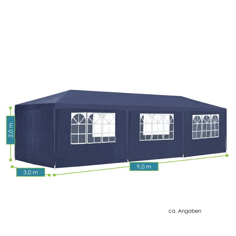 Abmessungen vom modernen Partyzelt 3x9m mit 8 abnehmbaren Seitenwänden (6 mit und 2 ohne Fenster), 16 Erdspießen und 8 Abspannseilen - blau