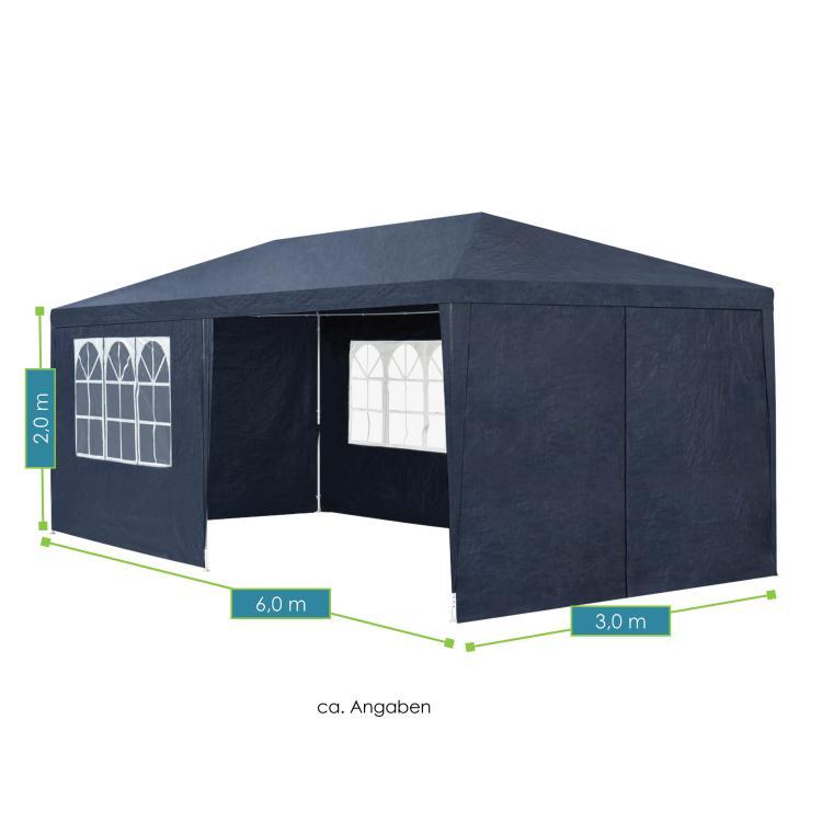 Abmessungen vom Partyzelt – blau -  mit Seitenwänden – Maße: 3 × 6 m - von ArtLife