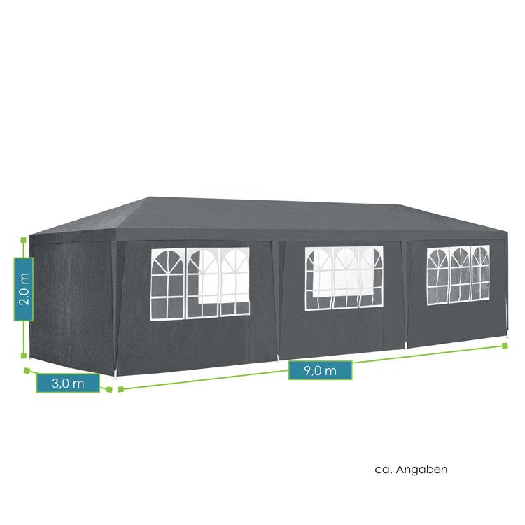 Abmessungen vom modernen Partyzelt 3x9m mit 8 abnehmbaren Seitenwänden (6 mit und 2 ohne Fenster), 16 Erdspießen und 8 Abspannseilen - dunkelgrau