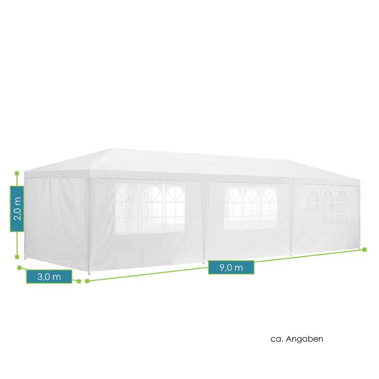 Abmessungen vom modernen Partyzelt 3x9m mit 8 abnehmbaren Seitenwänden (6 mit und 2 ohne Fenster), 16 Erdspießen und 8 Abspannseilen - weiß