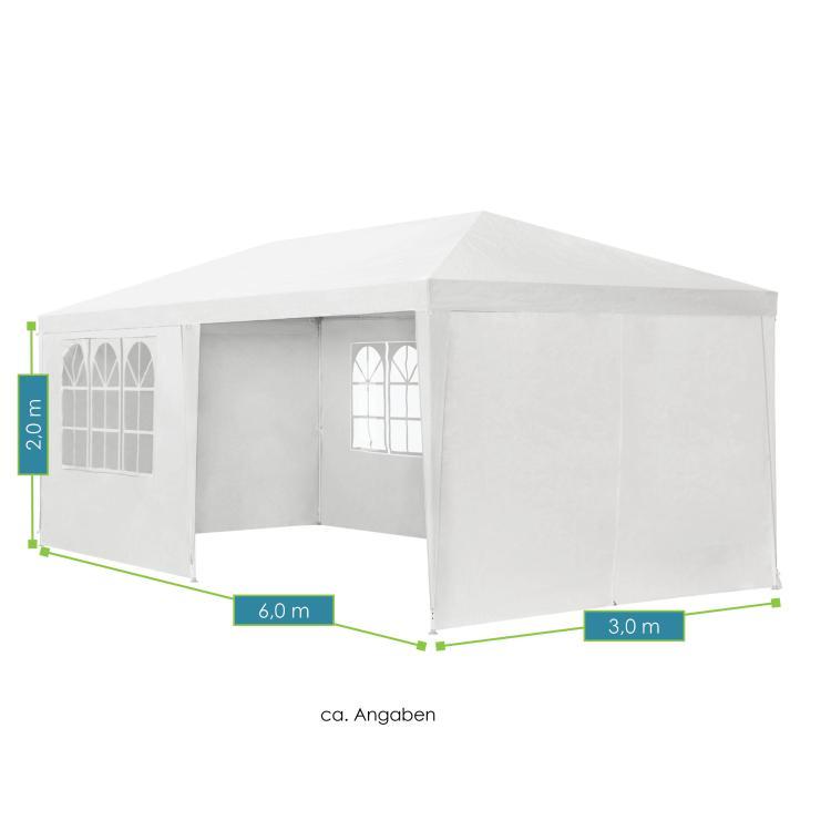 Abmessungen vom Partyzelt – weiß -  mit Seitenwänden – Maße: 3 × 6 m - von ArtLife