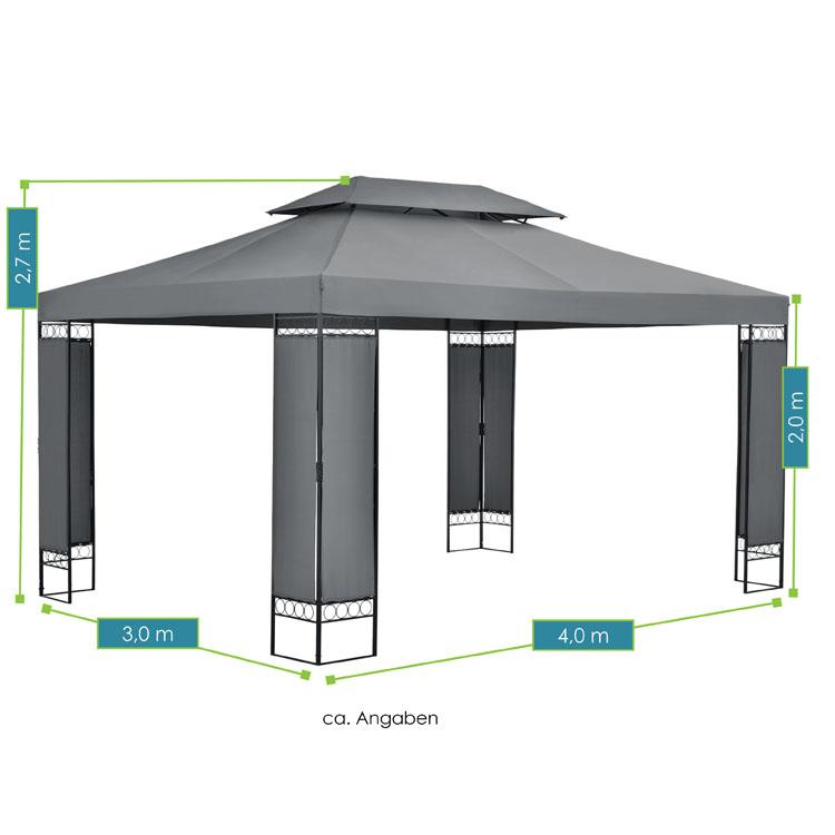Abmessungen vom Pavillon Capri - 3×4 m großes Gartenzelt in Anthrazit