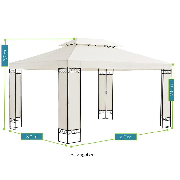 Abmessungen vom Pavillon Capri - 3×4 m großes Gartenzelt in Creme