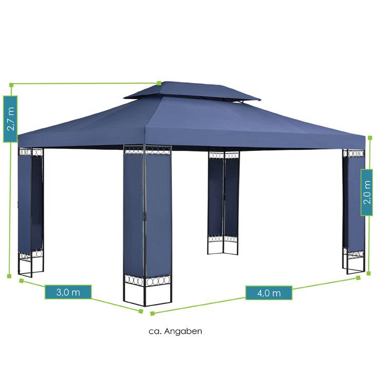Abmessungen vom Pavillon Capri - 3×4 m großes Gartenzelt in Dunkelblau