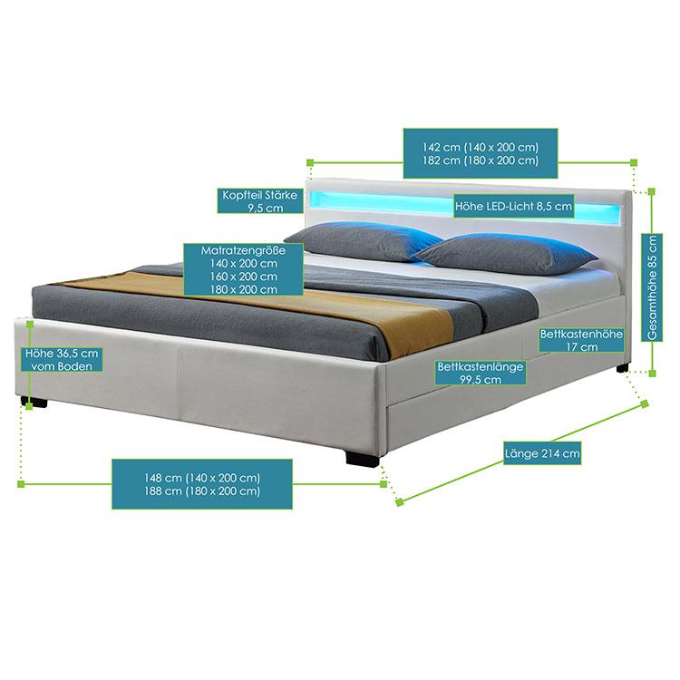 Polsterbett mit Bettkasten in weiß