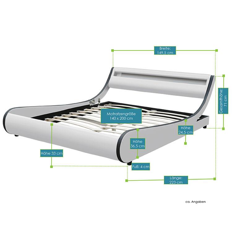 Abmessungen vom Polsterbett Valencia im geschwungenen Design - 140 x 200 cm - weiß