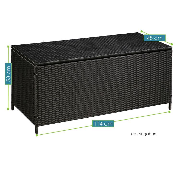 polyrattan gartenm bel auflagenbox mit wasserabweisender innenplane in schwarz juskys. Black Bedroom Furniture Sets. Home Design Ideas