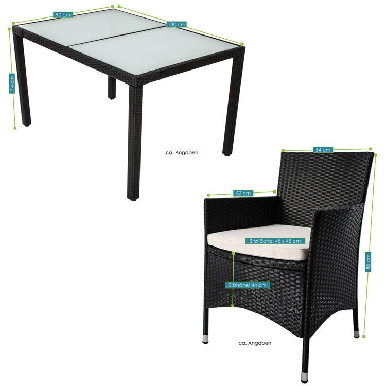 polyrattan essgruppe rimini l f r 6 personen mit glas tischplatten. Black Bedroom Furniture Sets. Home Design Ideas