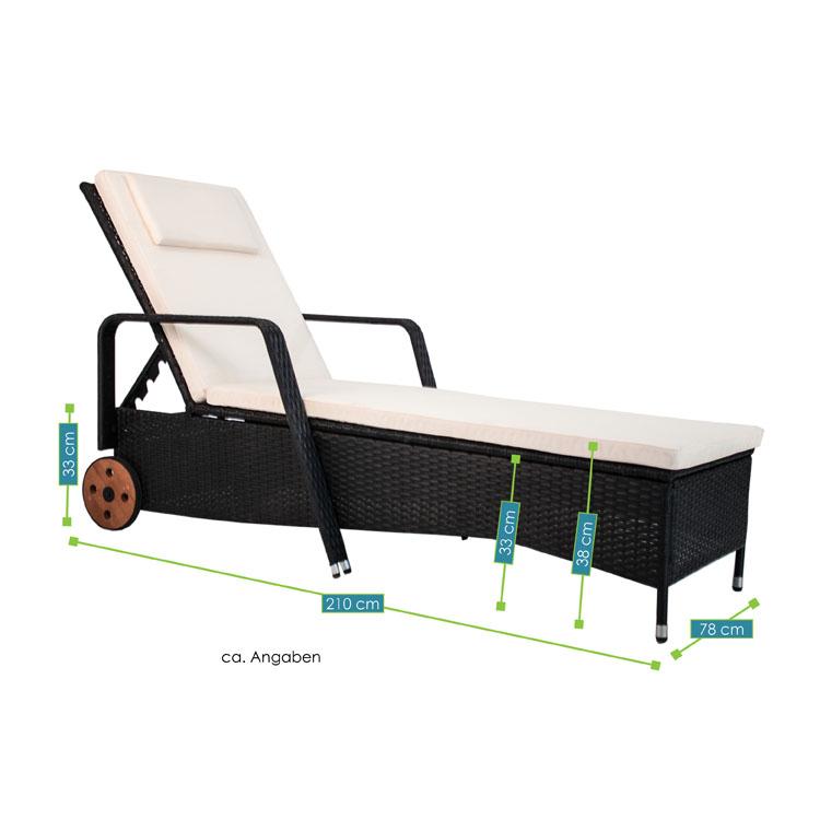 polyrattan gartenliege sonnenliege formentera f r 1 person juskys. Black Bedroom Furniture Sets. Home Design Ideas