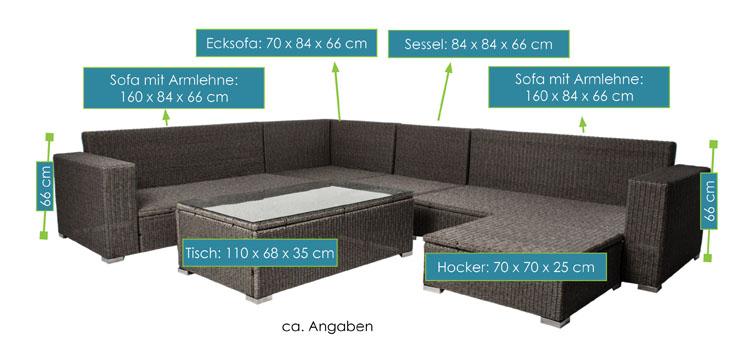 Hawaii poly rattan lounge schwarz  Polyrattan Gartenmöbel Lounge Sitzgruppe Hawaii Premium für 6 ...