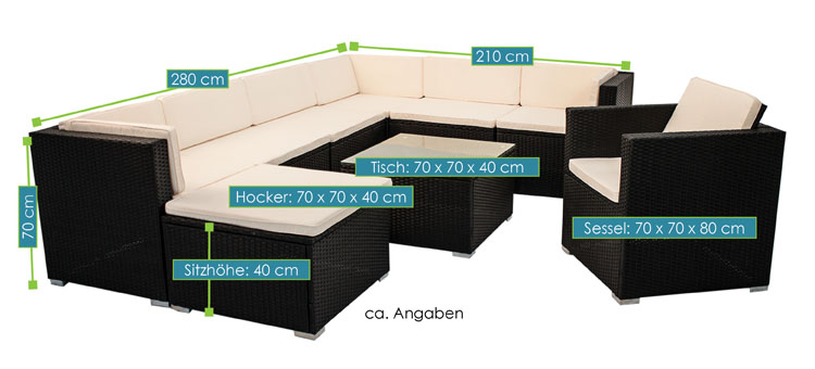 polyrattan gartenm bel lounge sitzgruppe south beach xl. Black Bedroom Furniture Sets. Home Design Ideas